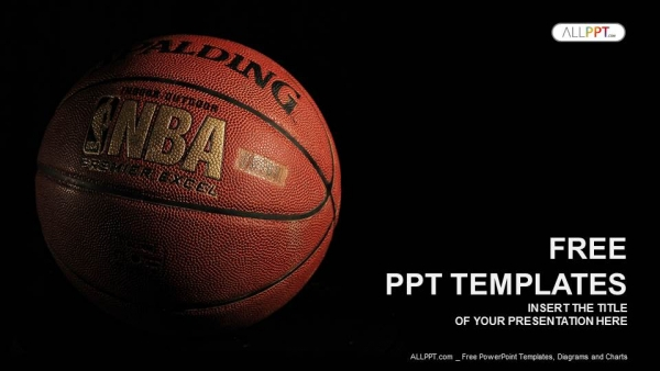 A basketball with a dark background PowerPoint Templates - basketball powerpoint template