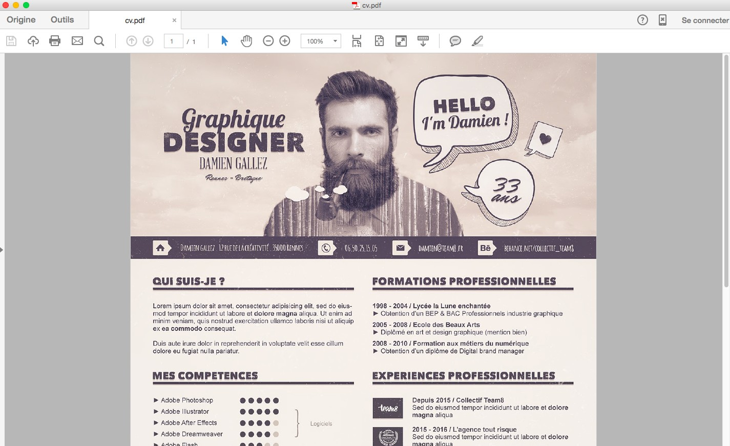 enregistrer cv photoshop en pdf