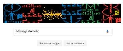 Brève | Le message d'Arecibo, un signal interstellaire, fêté par Google avec un Doodle