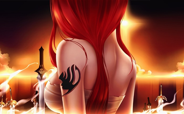 Anime Girl Angle Wallpaper 1366x768 Tail Fairy Anime Girl Cheveux Rouges 233 P 233 E Vue De Dos