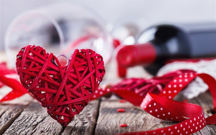 3d Love Red Heart Wallpaper Saint Valentin Amour Coeur Rouge Vin Romantique Hd