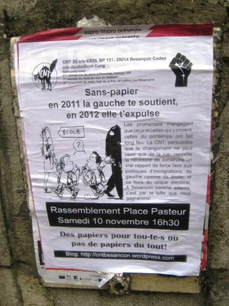 rassemblement soutien sans papier - samedi 10 novembre - besancon