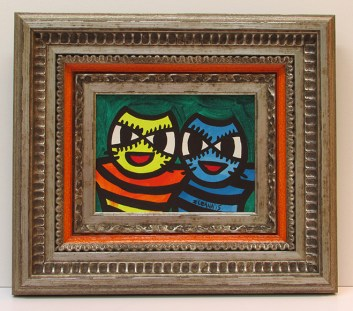 barbe cartoon cats acrylic painting frame sm
