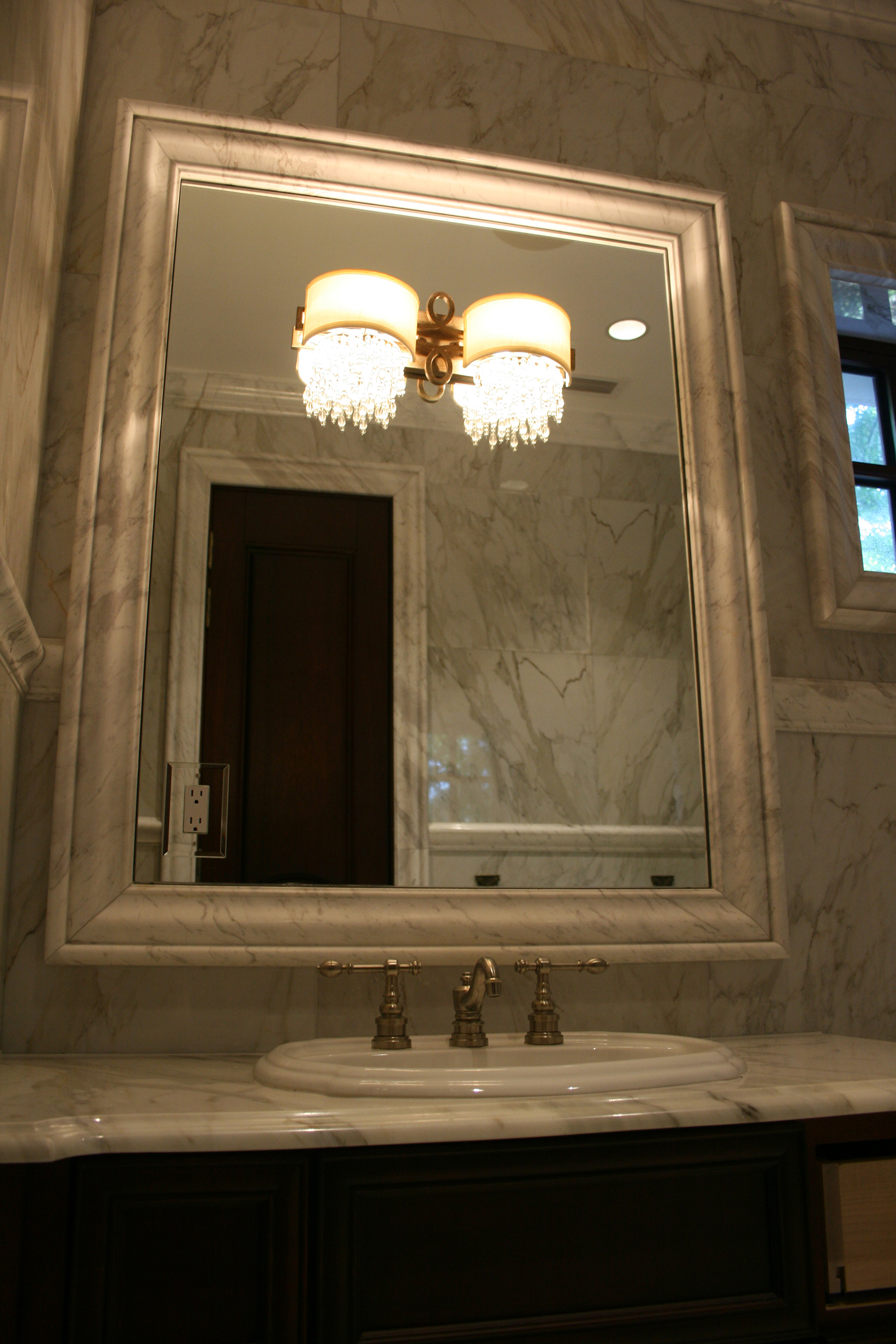 Stone Framed Bathroom Mirrors Bathroom Mirror With Light Fixture On Marble Allservices