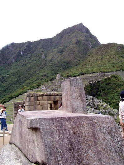 The Intihuatana or Hitching Post at Machu Picchu, Urubamba Province, Peru