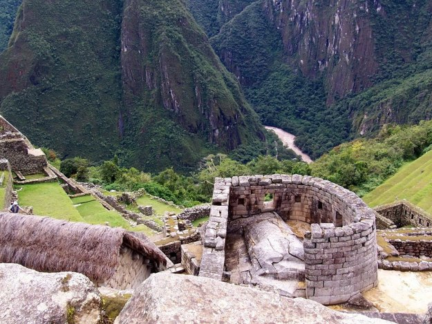 Tower of the Sun building at Machu Picchu, Urubamba Province, Peru