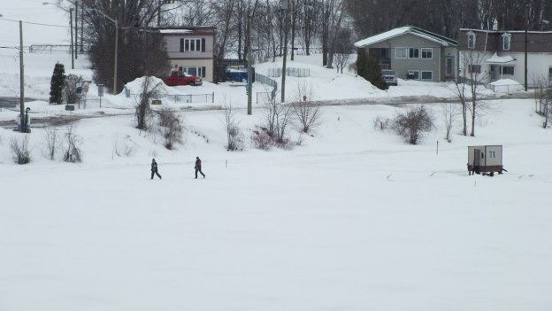 Two people cross-country ski on frozen river in Ottawa - Canada