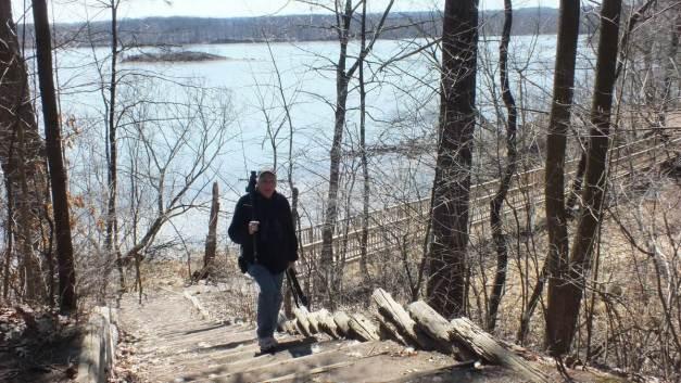 Bob walking up steps at Cootes Paradise Marsh - Hamilton - Ontario