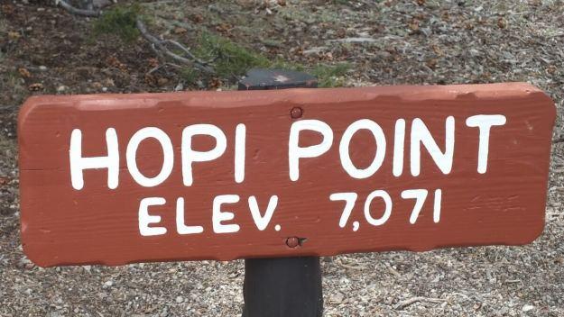 Hopi Point sign - south rim - Grand Canyon