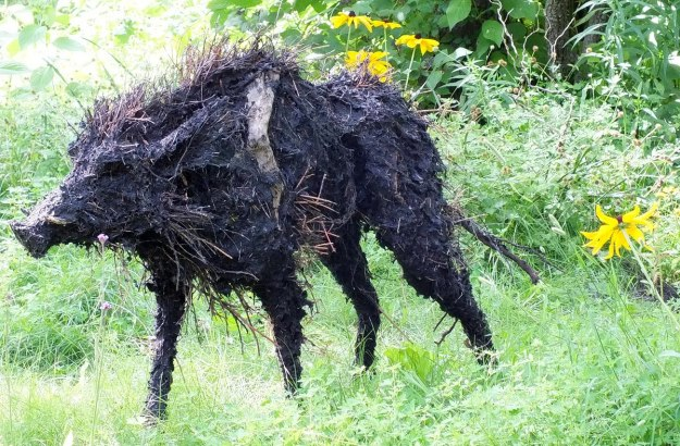 The Boars of Sally Island (one boar) - Mosaiculture Montreal Botancial Gardens