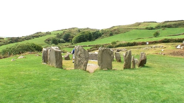 Drombeg Stone Circle looking towards the hills in County Cork, Ireland.
