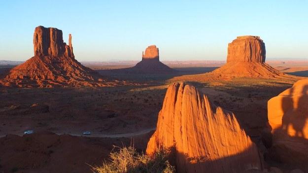 Monument Valley at sunset near northern Arizona and southern Utah, USA