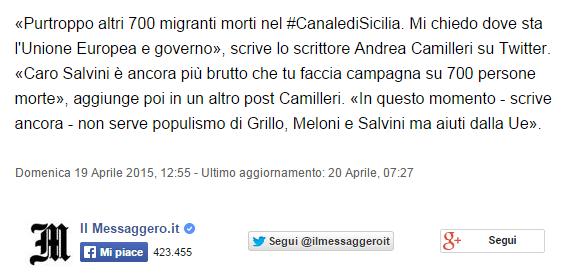 Naufragio canale di Sicilia  Salvini  morti sulla coscienza di Renzi e Alfano. Guerini  sciacallo nauseante