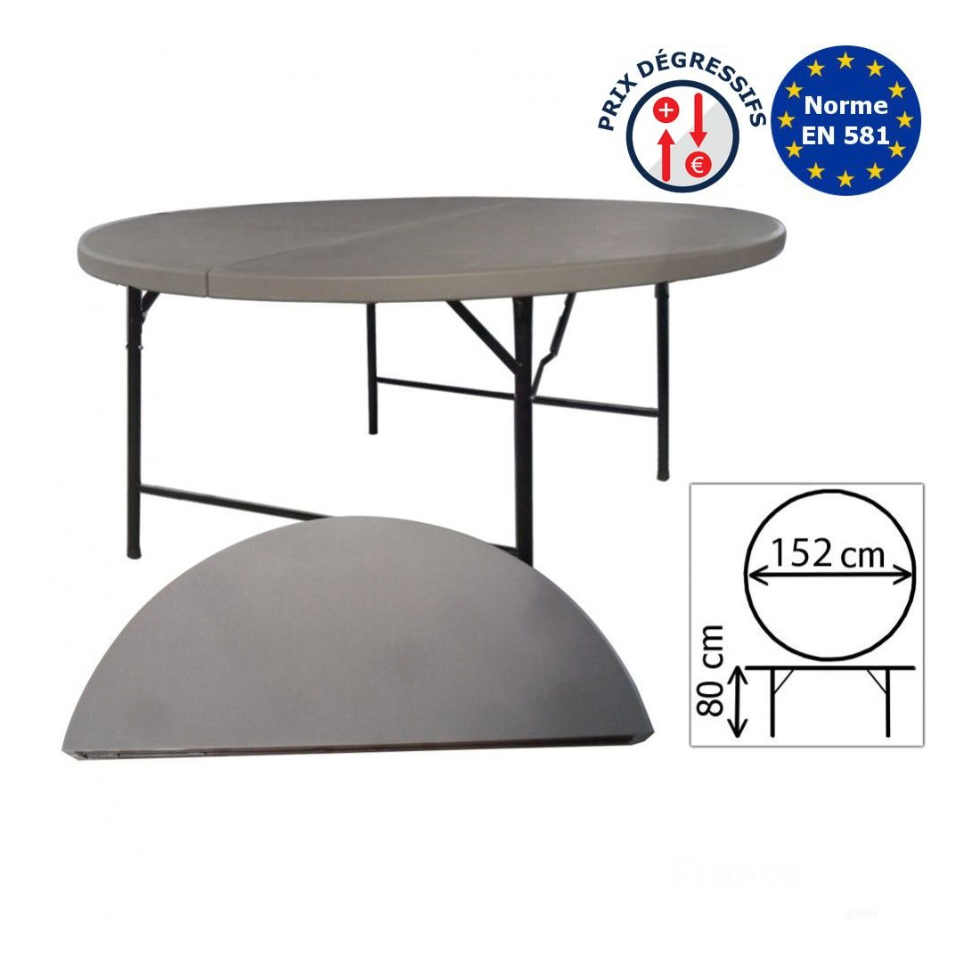 Table Haute Grise Table De Réception Ronde Grise De 152cm Pliante En Valise