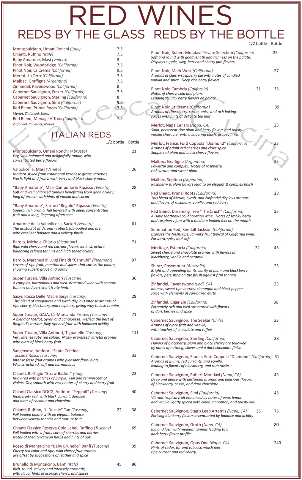 Cucina And Co Wine List Wines – Red | Francesca's Cucina