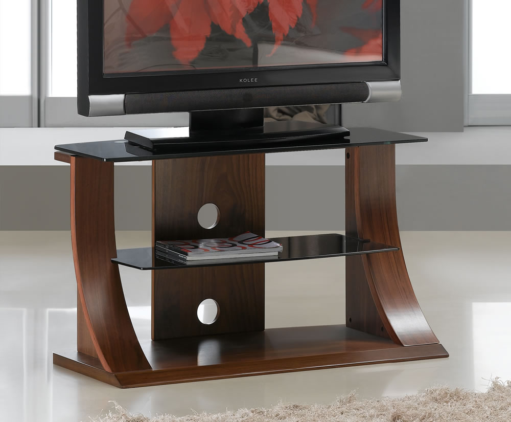 50 Cm Dudley Small Walnut Glass Tv Stand