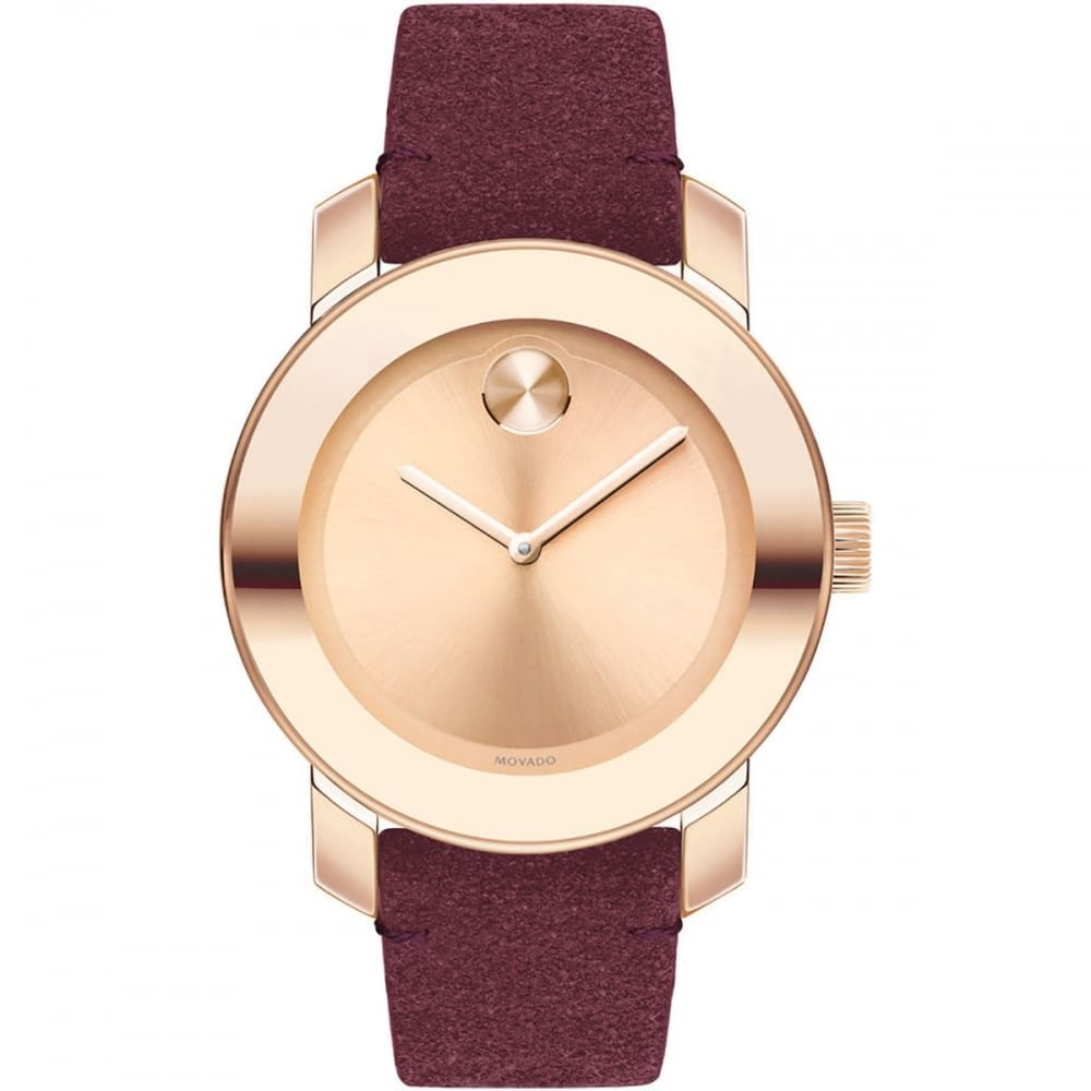 Leather Strap Rose Gold Watch Movado Ladies Bold Rose Gold Dial Red Suede Leather Strap Watch