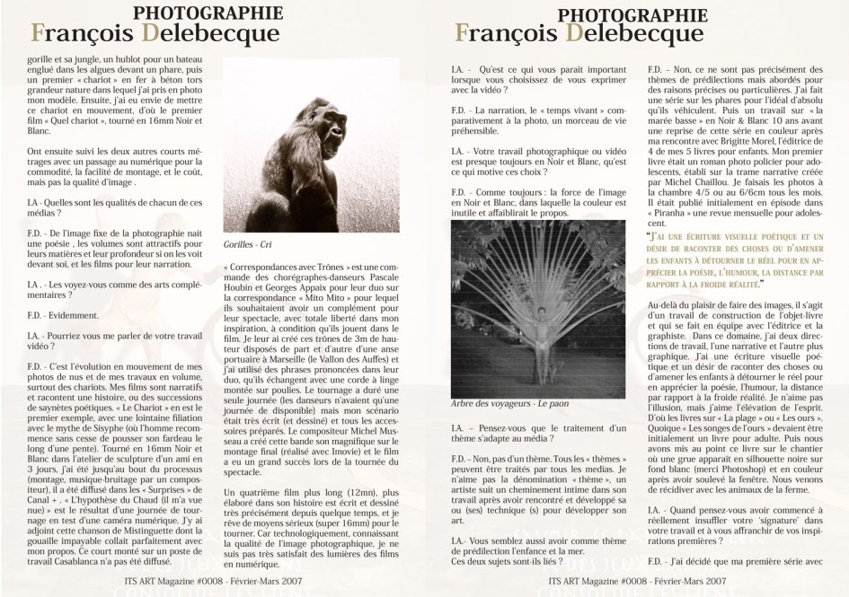 François Delebecque, It's Art Magazine, 2007