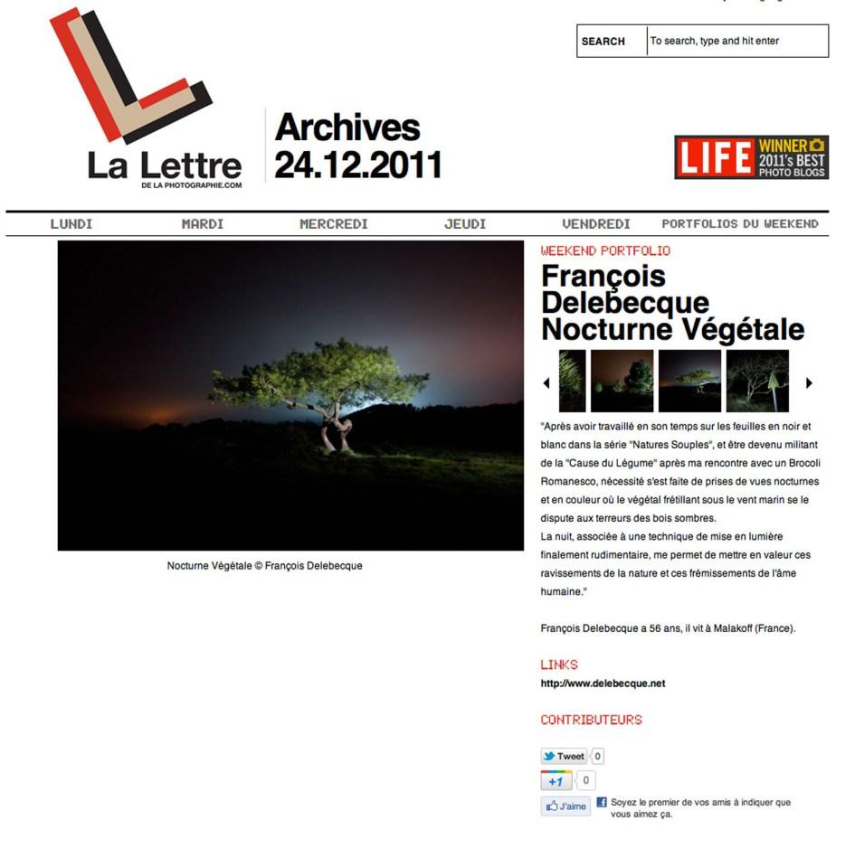 François Delebecque, La lettre de la Photographie, 2011