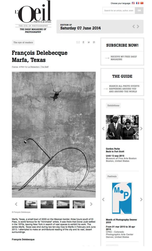 François Delebecque, L'Oeil de la Photographie, Marfa