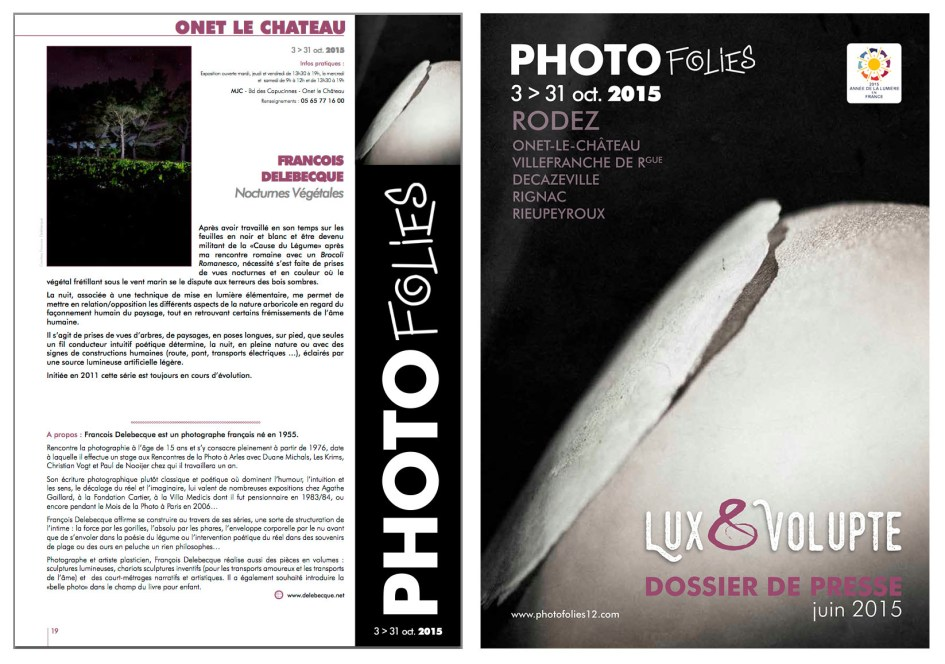 """François Delebecque, exposition """"Nocturnes végétales"""", Photofolies"""