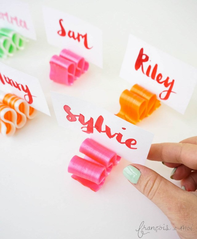Candy Ribbon Place Cards | Francois et Moi