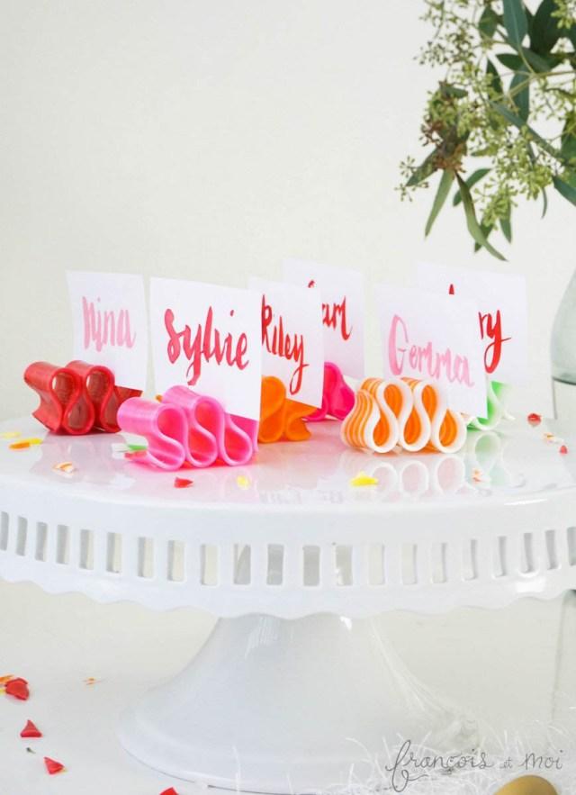 Watercolor Candy Ribbon Place Cards | Francois et Moi