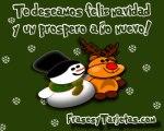 Tarjetas De Navidad Reno Y Mu Eco De Nieve Frasesytarjetas