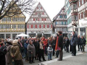 Die Stadtführung zur Frauengeschichte beginnt meist auf dem Herrenberger Marktplatz.