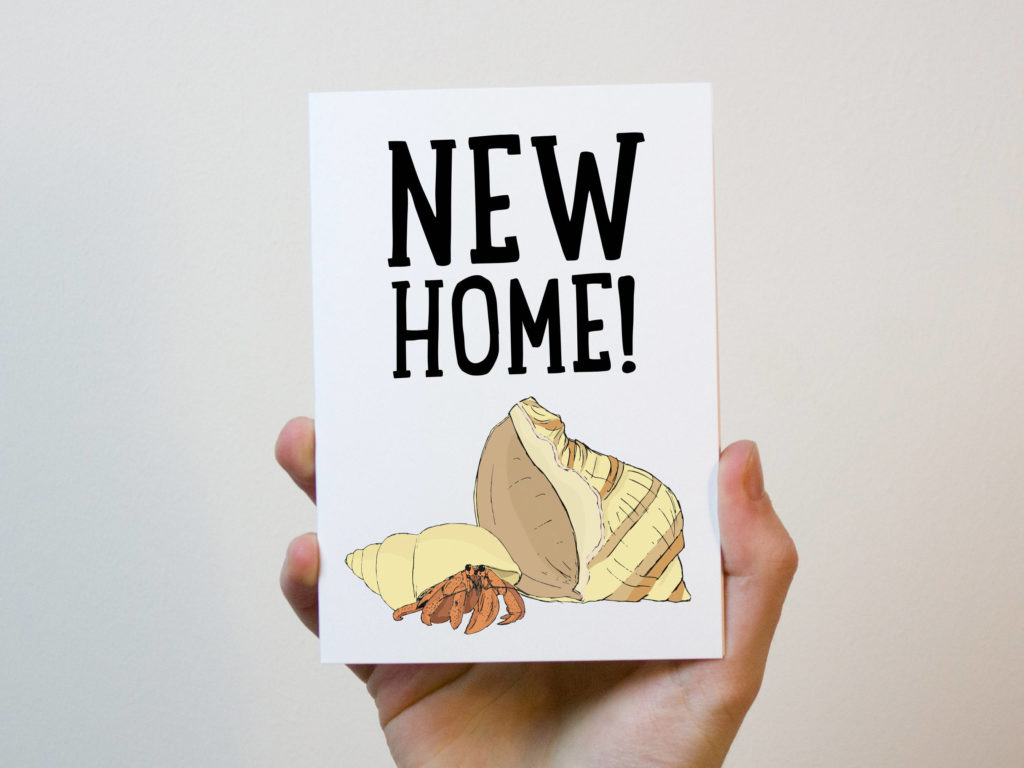 High End Housewarming Gifts New Home Hermit Crab Card New Home Card First Home