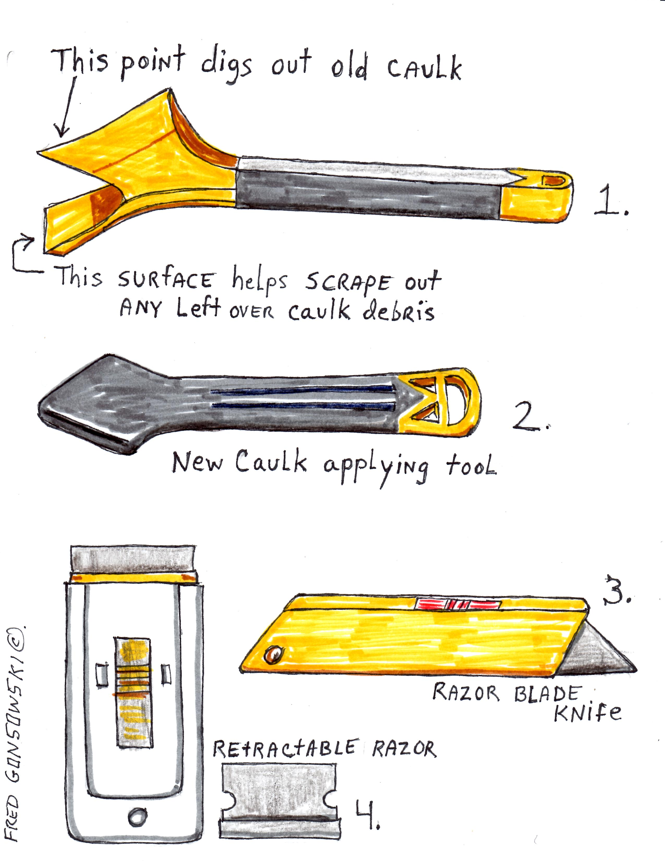 Tools used to remove old caulk and to caulk a bath tub