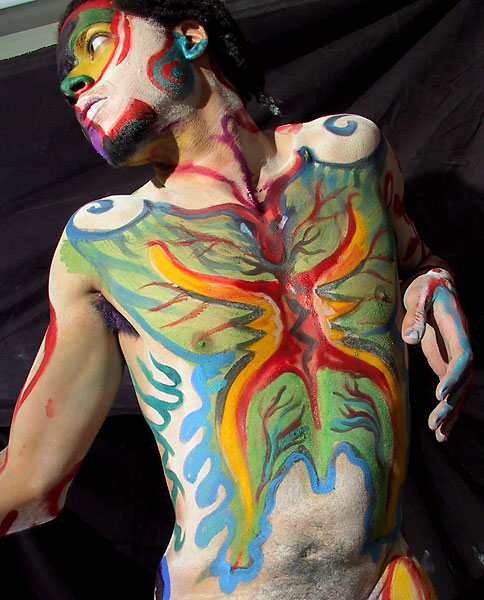 Shaman, 2001, bodypaint and photo by Fred Hatt