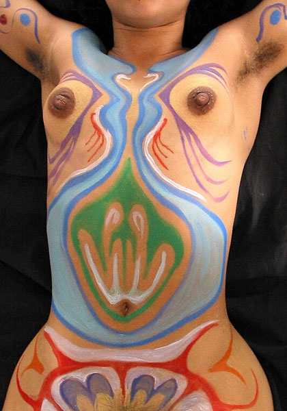 Flask, 2002, bodypaint and photo by Fred Hatt