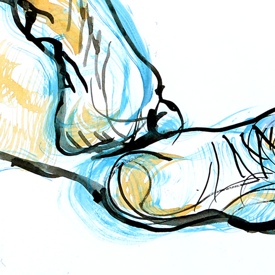 Centered on the Feet (detail), 2012, by Fred Hatt