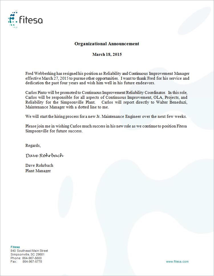 Reference Letters \u2013 Fred Webberking - organizational announcement samples