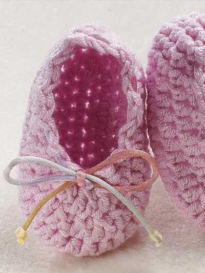 Baby Newborn Booties Ballet Slippers Free Baby Crochet Pattern