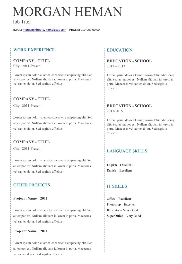 Basic CV templates in Microsoft Word Land the job with our free