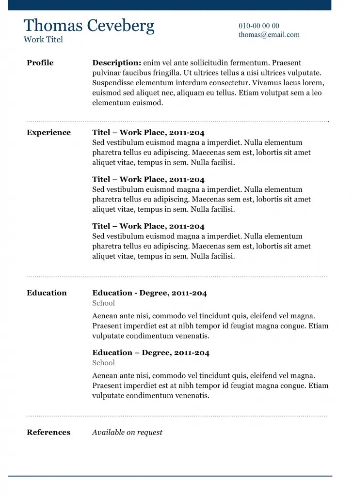Frame - Free Word CV Template
