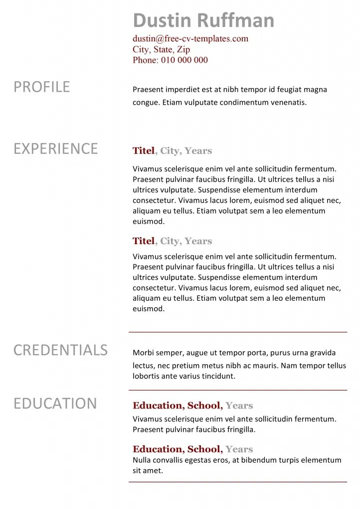 Basic CV templates in Microsoft Word Land the job with our free - basic resume template free