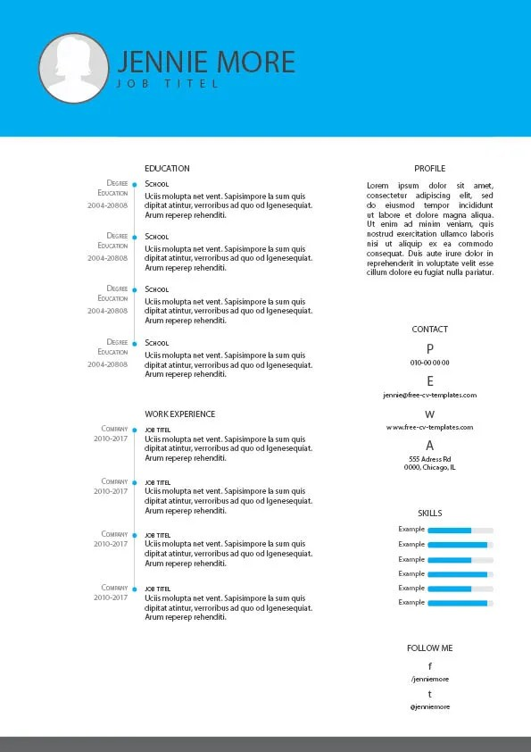 Free CV and resume templates for Indesign, Illustrator and Photoshop