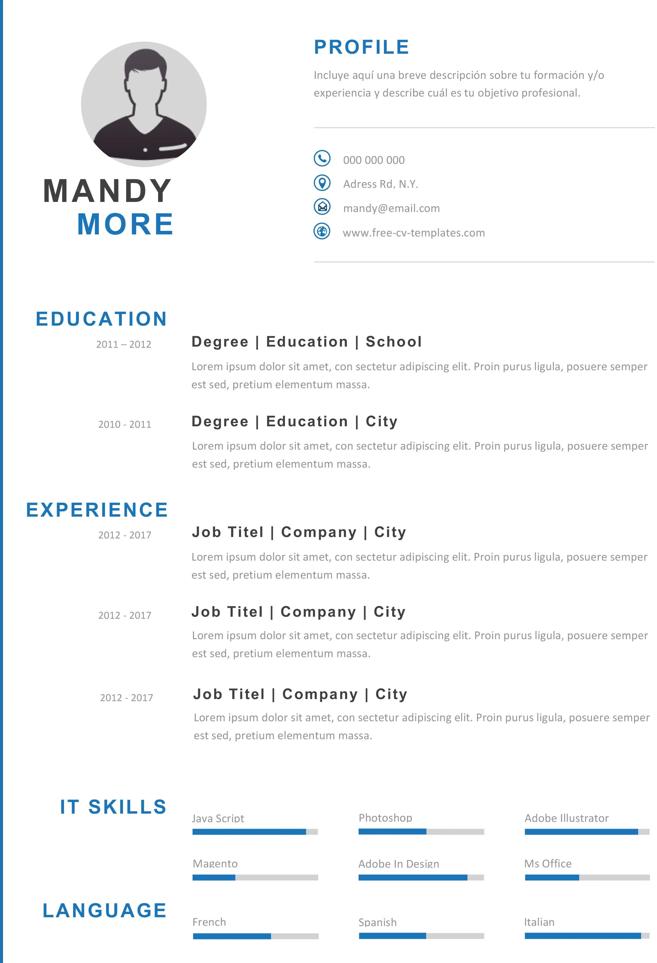 modern cv template photoshop