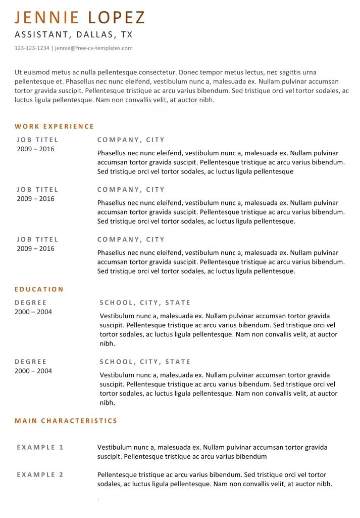 resume template lines