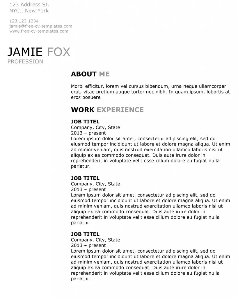 side by side resume template