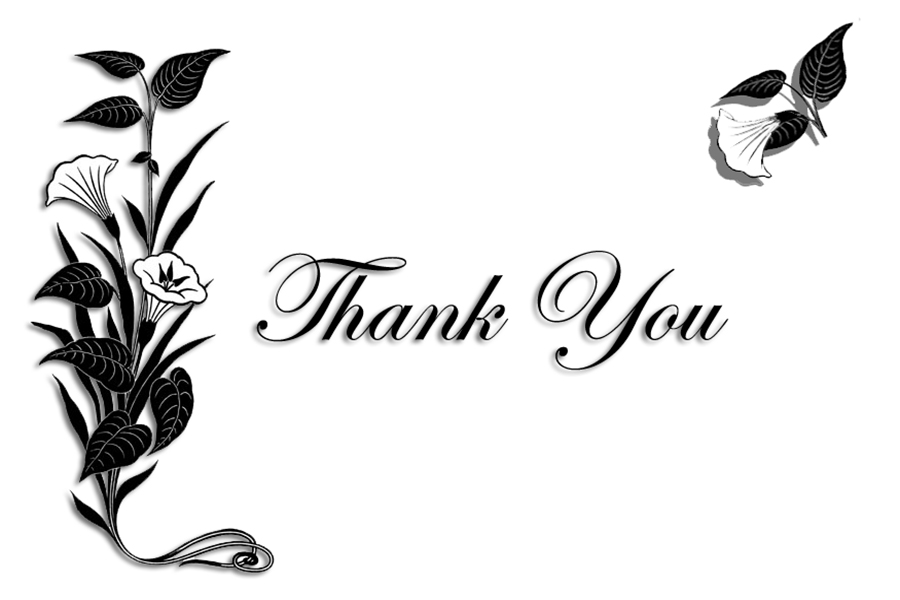 thank-you-card-with-flower-black-white Free Printable Greeting Cards - printable thank you cards black and white
