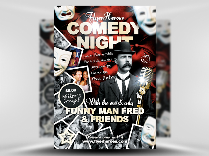 30+ free PSD Themed party flyer templates Free PSD Templates - comedy show flyer template