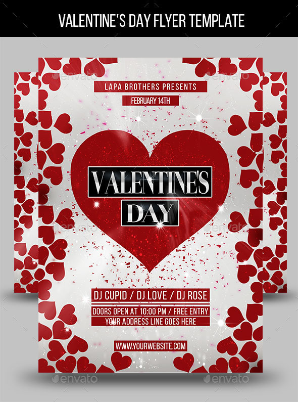 45+PREMIUM  FREE PSD FLYERS + ELEMENTS FOR ST VALENTINE\u0027S DAY