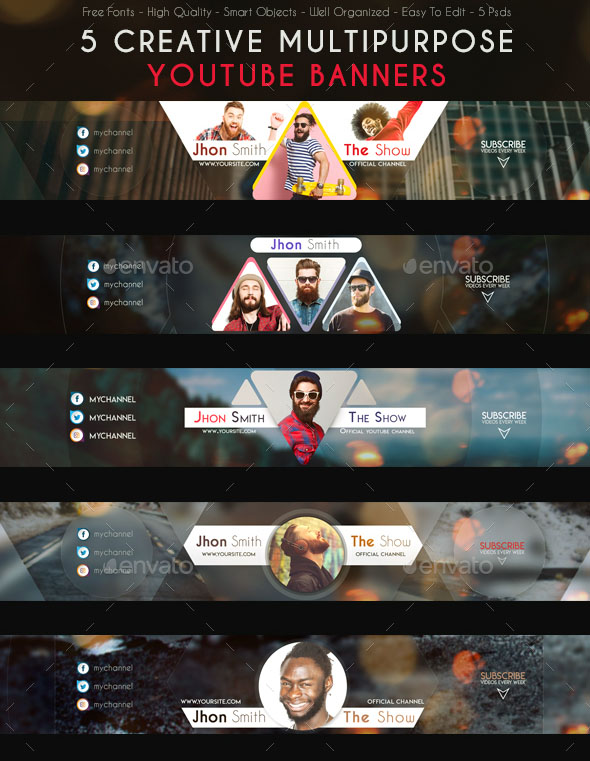 20+ FREE PSD YouTube Channel Banners for the best creative promoters