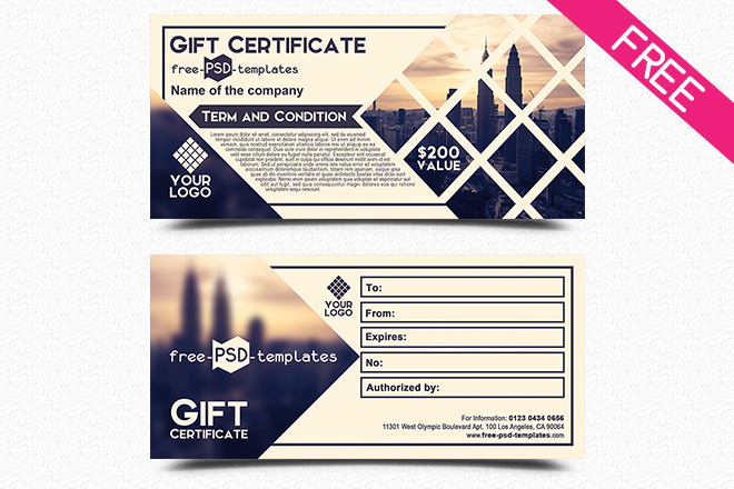 Free Business Gift Certificate IN PSD Free PSD Templates