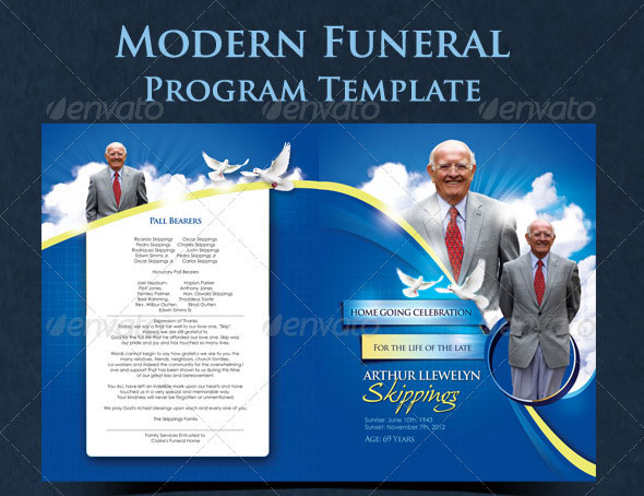 20 Modern and Professional Free PSD Funeral Program Templates - funeral program background