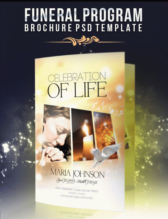 20 Modern and Professional Free PSD Funeral Program Templates - free template for funeral program